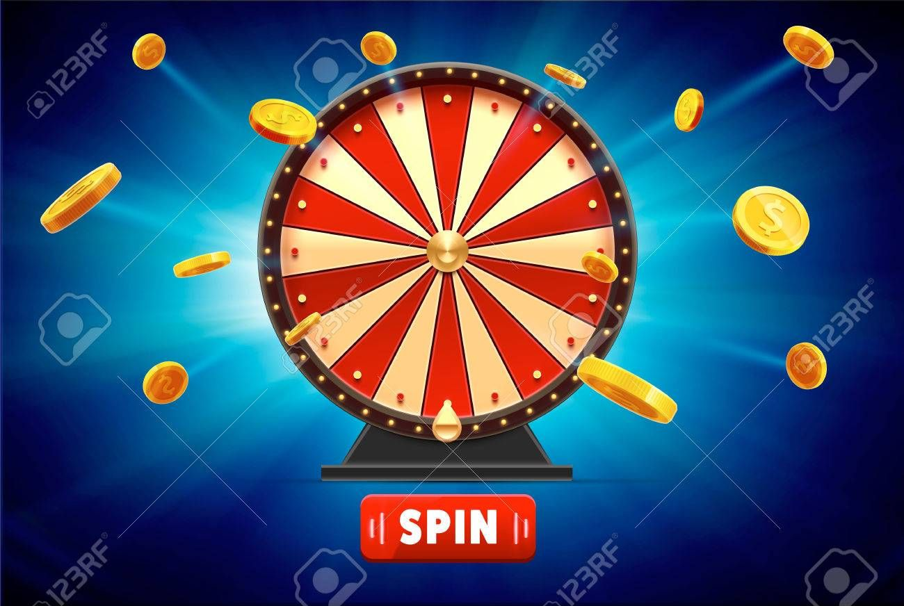 Wheel Of Fortune With Gold Coins 3d Object Isolated On Blue Glow
