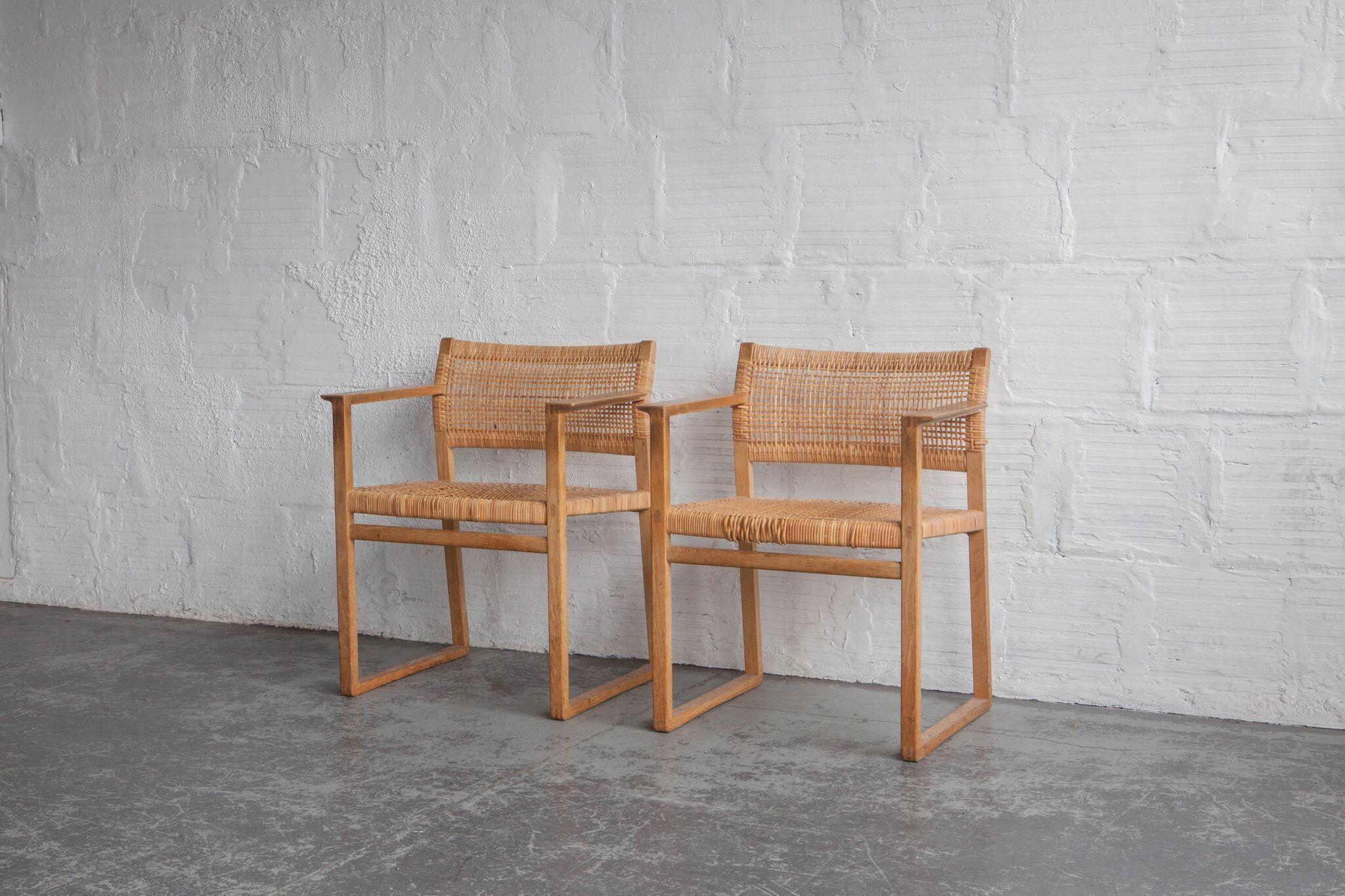 Borge Mogensen Bm62 Oak Rattan Chair Rattanchair Rattan Chair