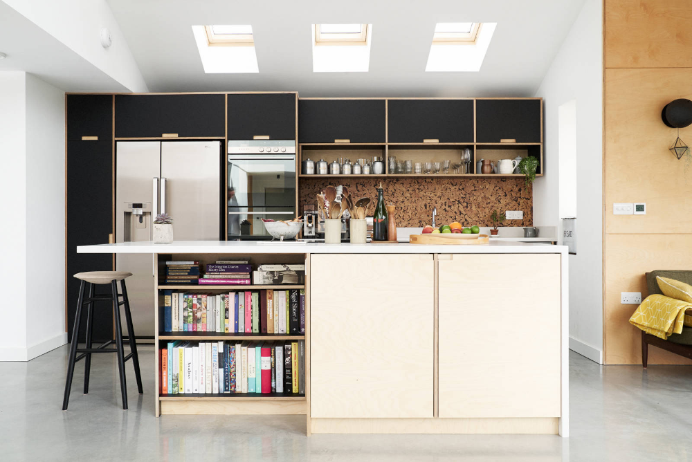 Fenix and birch kitchen with spacer panels by Plykea in ...