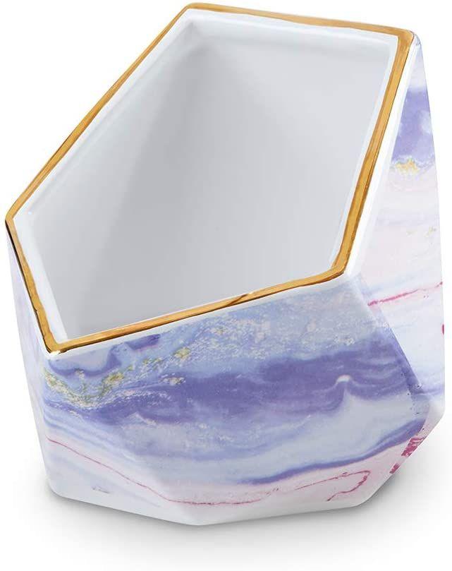 Kate Aspen 23204EL Gold Foil Rim Purple Marble Print Ceramic Boom Bowl Cell Phon…
