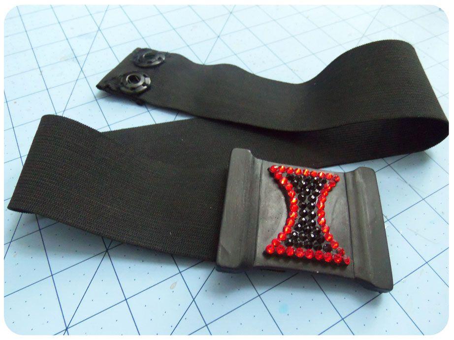 Diy friday elastic belt w rhinestones black widow
