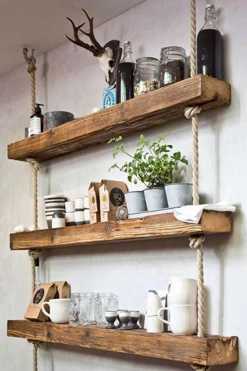 Photo of Retro Handmade Wooden Shelf with Ropes