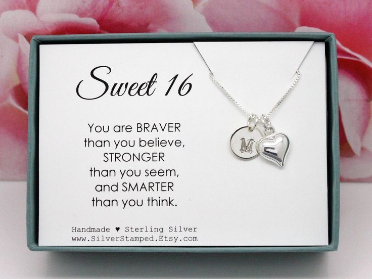 Sweet 16 Birthday Gift for girl Necklace, Sterling Silver