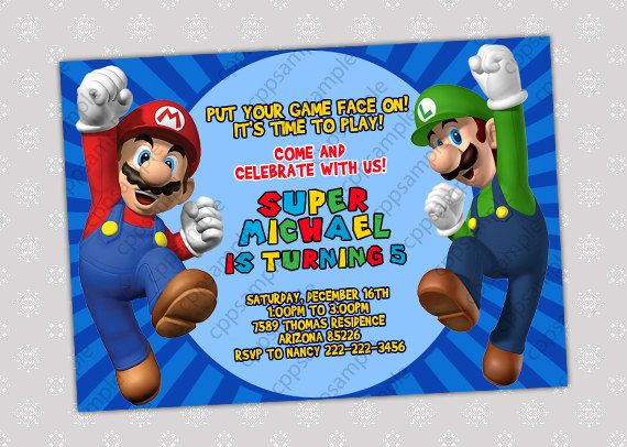 Super Mario Bros Birthday Party Invitation by CreativePartyPixels – Super Mario Bros Party Invitations