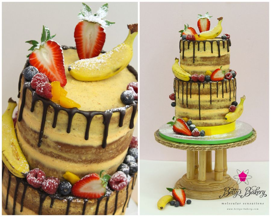 Exotic Tropical Naked Drizzle Cake With Lots Of Fresh