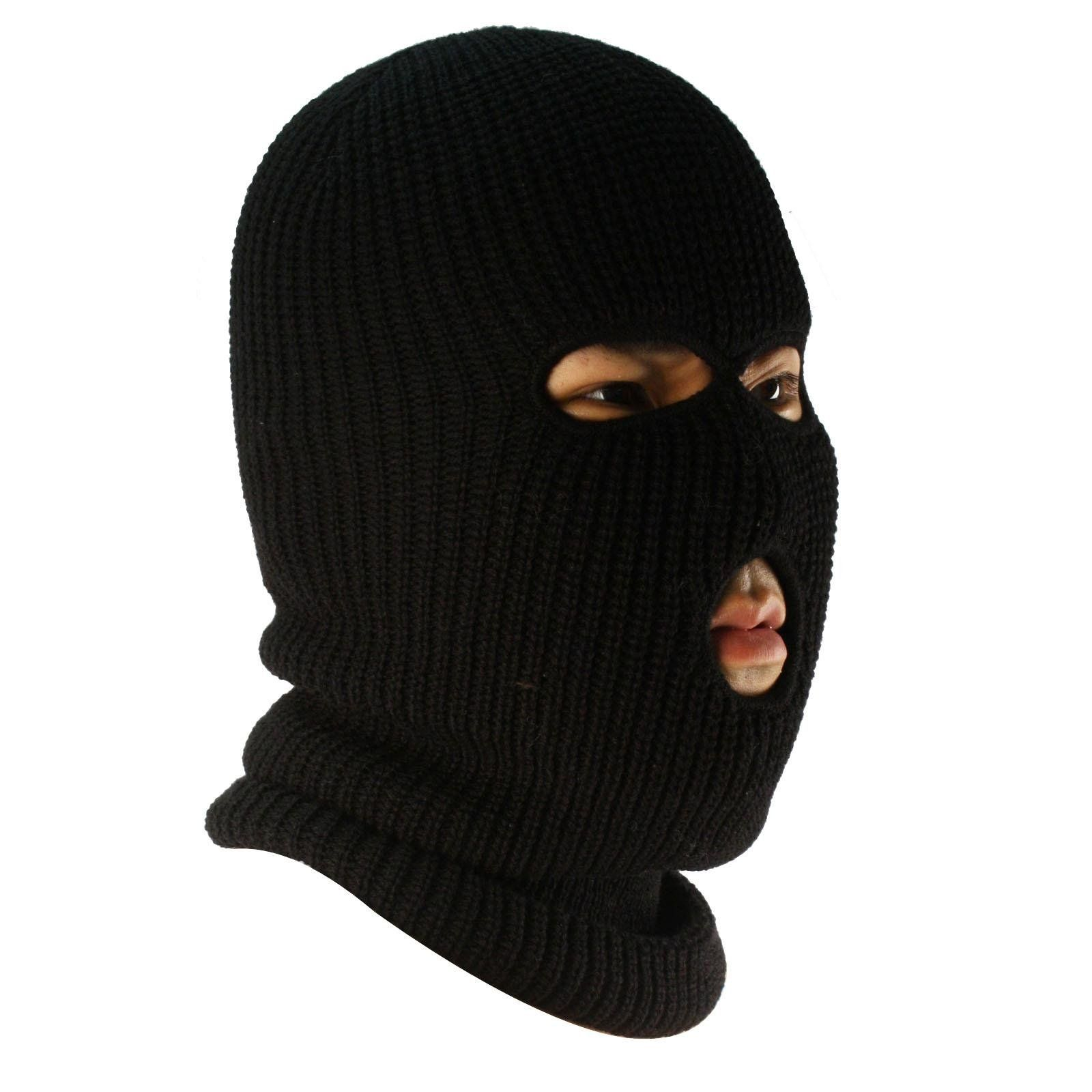 1c86a2213de6 Men s Winter Knit Ski Sports Long Neck warmer Balaclava 3 Hole Face Mask  Black. Fabrication