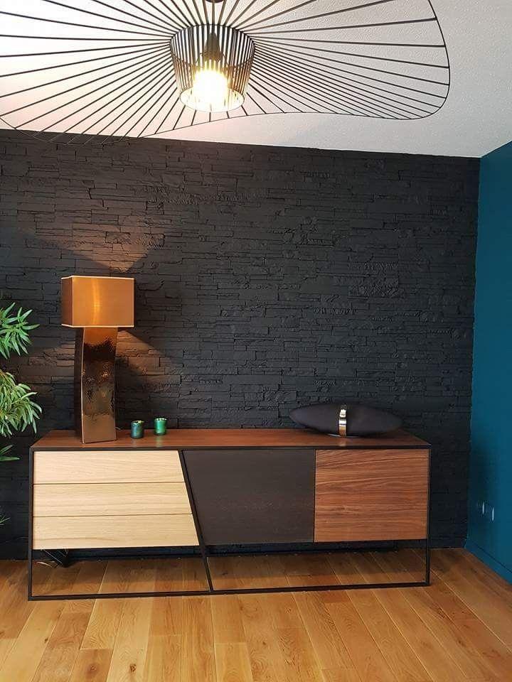Mur de parement noir enfilade clearcit bolia vertigo la petite friture decoration intérieur