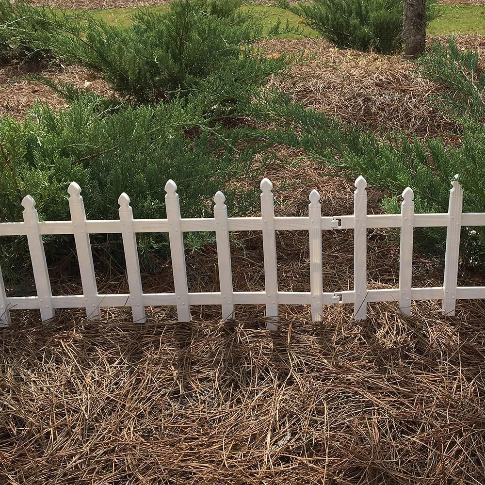H White Classic Picket Style Plastic Garden Fence