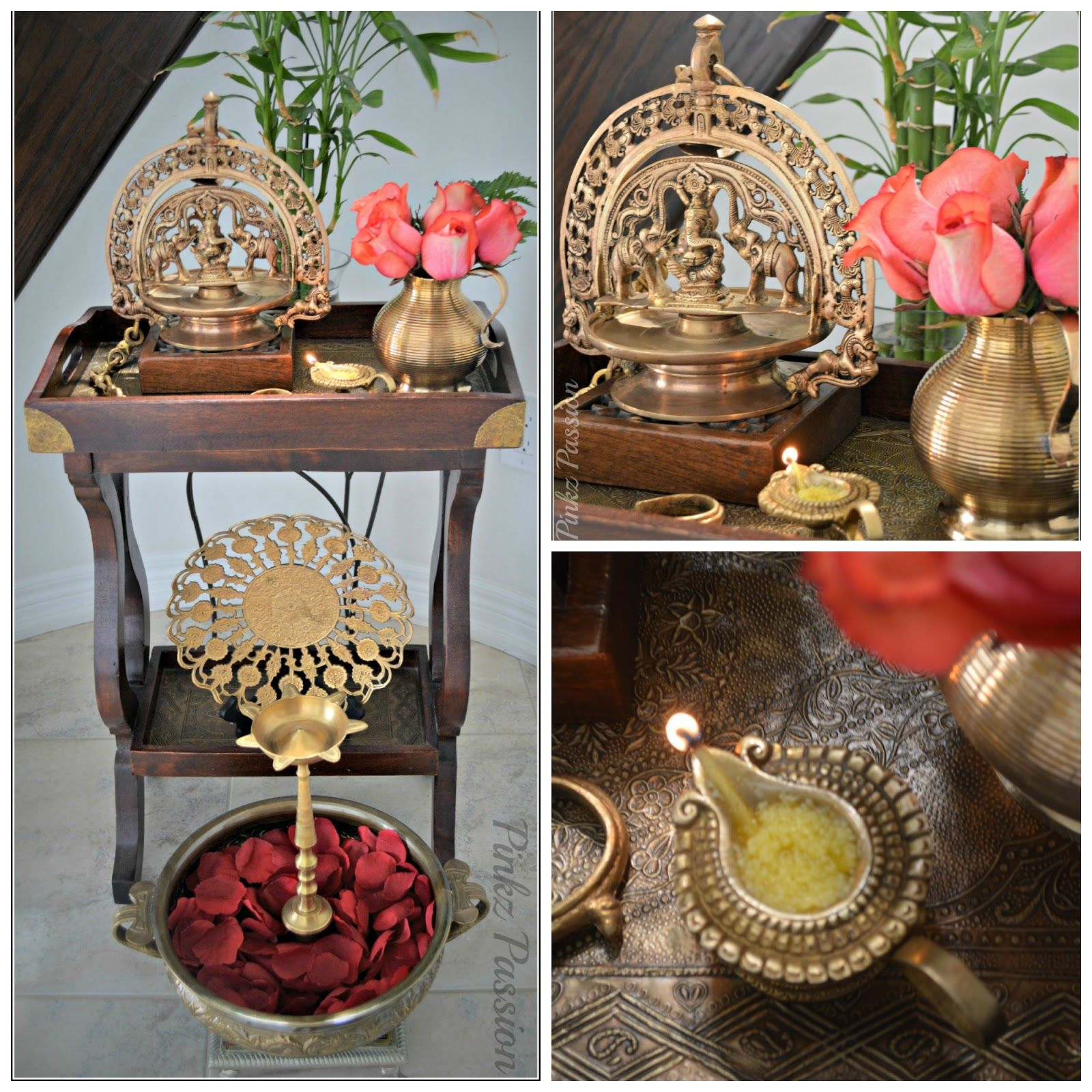 Pinkz passion blessings of pooja silver puja items for Simple diwali home decorations