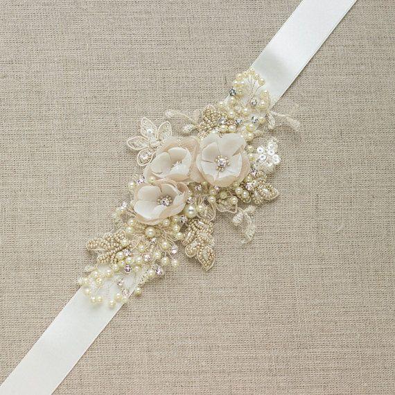 Items similar to Champagne bridal belt, Wedding dress belts sashes, Flower belts, Lace belt, Floral belt sash, Narrow sash, Thin belt, Champagne lace wedding on Etsy