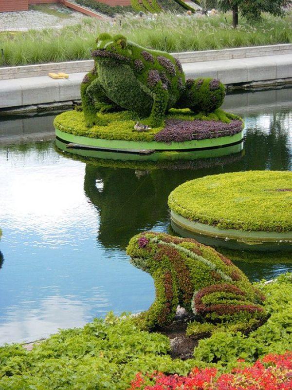 Rana sorprendentes topiarios flores esculturas - Estatuas de jardin ...