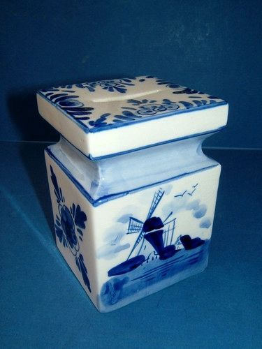 Delft Delftware Dutch Blue and White Windmill Design Ceramic Money Bank Box