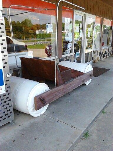 Flintstone car out of plastic barrels | GARDENING ...