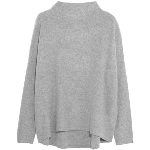 Vince Boiled cashmere sweater found on Polyvore featuring tops, sweaters, grey, cashmere sweater, wool cashmere sweater, drop shoulder sweater, vince sweaters and grey sweaters