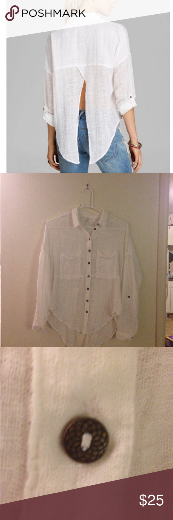 17f612048 Free People Split Back Button Down White Top Excellent condition. Free  People Shibori siren split