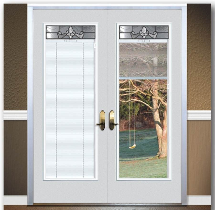 Exterior door with blinds inside thefallguyediting