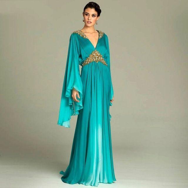Plus Size Blue Dubai Arabic Kaftan Evening Dresses Beaded Gold