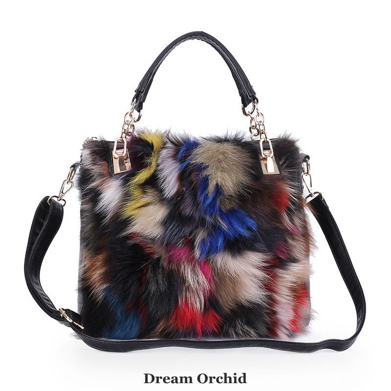 0018519bd1c8 Women Bags Fox Fur Handbags Soft Winter Women Messenger Bags Chain Fashion  Handbags Women Genuine Leather Handbags Shoulder