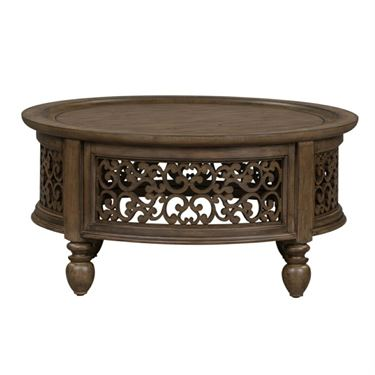 Parisian Round Cocktail Table In 2020 Liberty Furniture Round Cocktail Tables Coffee Table
