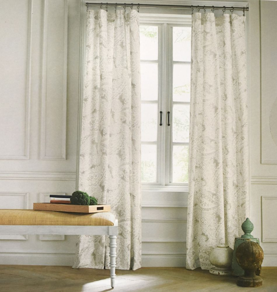 Tommy Hilfiger Mission Paisley Grey Beige Gray 2pc Window Curtain