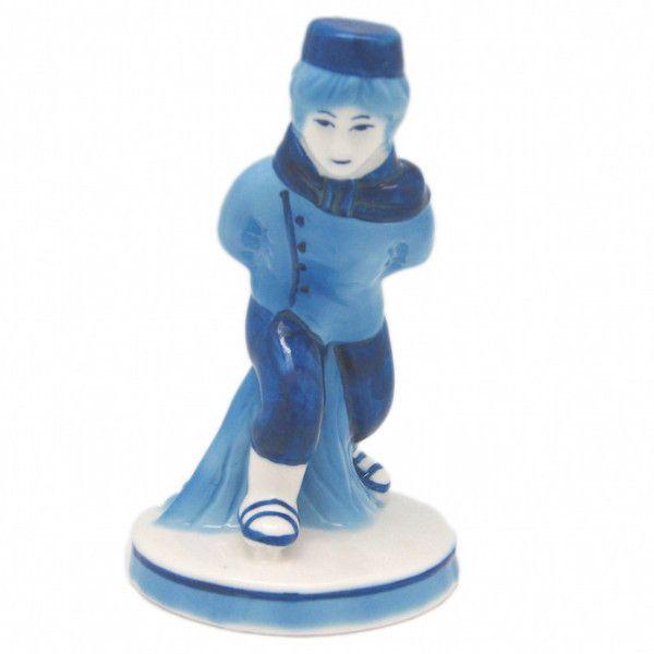 Blue and White Figurine: Dutch Boy Skater