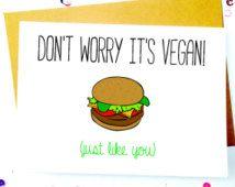 Vegan Birthday Card/Cute Funny Vegan Card/Vegan Gift/Vegetarian ...