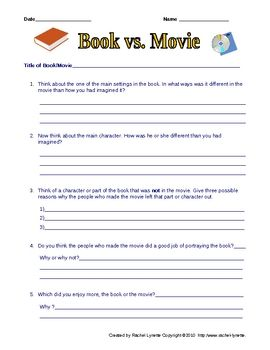 Free Book vs. Movie Worksheet.  after TCAP