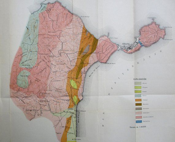 Geological Map Of Spain.1917 Ceuta In Northern Morocco On Strait Of Gibraltar Spanish