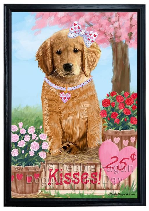 Rosie 25 Cent Kisses Golden Retriever Dog Framed Canvas Print Wall