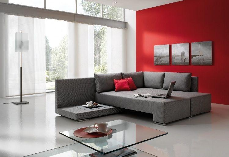 dco salon gris avec canap tout confort 55 ides pour vous - Deco Salon Gris Et Rouge