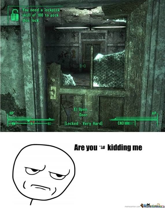Video Game Logic Locked Doors Fallout Meme Video Game Logic Fallout Funny