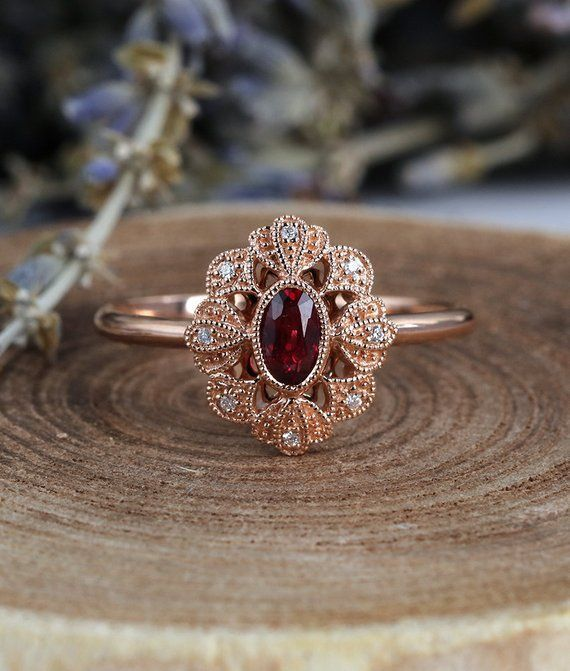 Photo of Ruby engagement ring 14k rose gold vintage oval cut Gypsy set flower Cluster  antique Halo diamond wedding Jewelry Anniversary gift for her