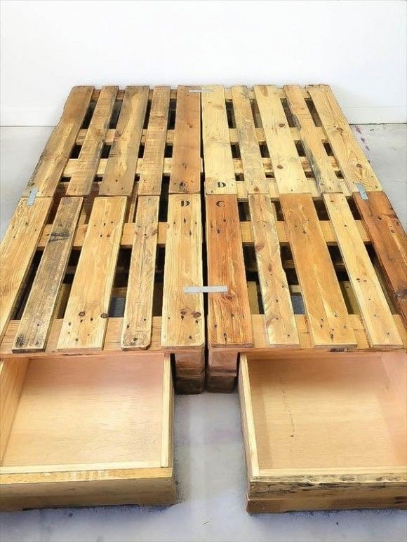 Whole Euro Pallet Bed With Storage Drawers Diy Pallet Furniture Pallet Furniture Diy Pallet Bed