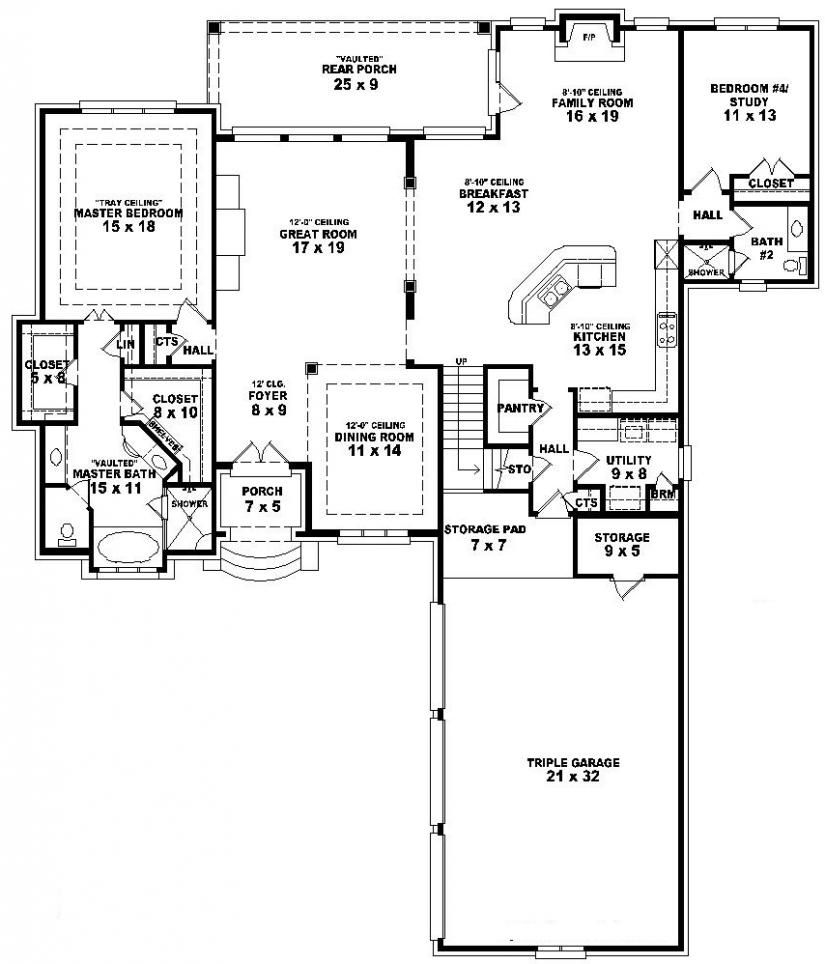 654023 One And A Half Story 3 Bedroom 4 Bath French Style House Plan French House Plans Country Style House Plans Garage House Plans