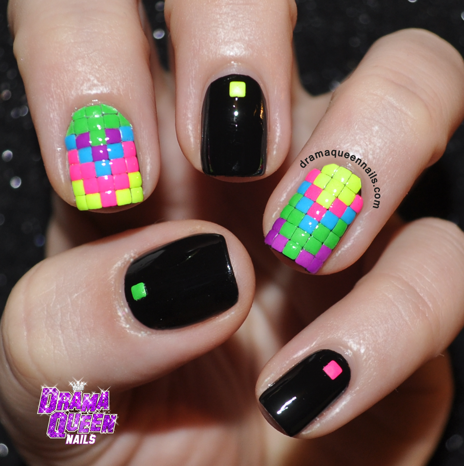 Drama Queen Nails Neon Blocks