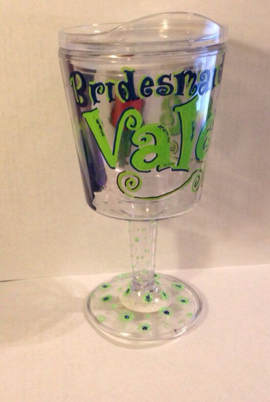 Wine Glass with straw on Etsy, perfect for bachelorette parties! 21st birthday!