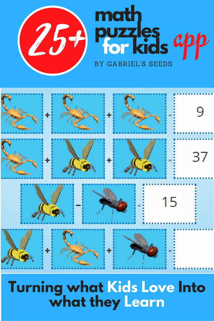 Personalized math puzzles with animals created with Gabriel\'s Seeds ...
