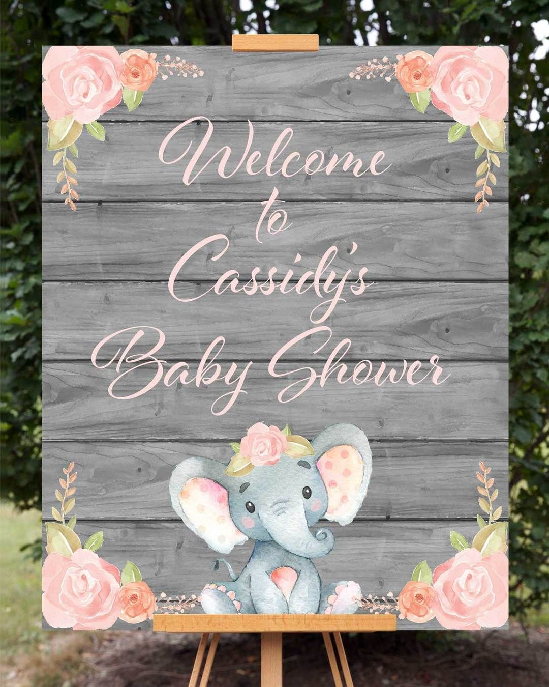 Pink Elephant Baby Shower Welcome Sign