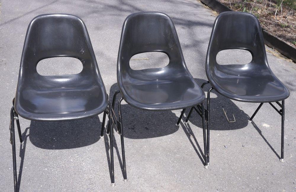 3 Vintage Mid Century Modern Krueger Fiberglass Eames Atomic Black Shell  Chairs #MidCenturyModern #Krueger