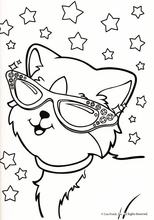 Lisa Frank Coloring Page Animal Coloring Pages Cat Coloring
