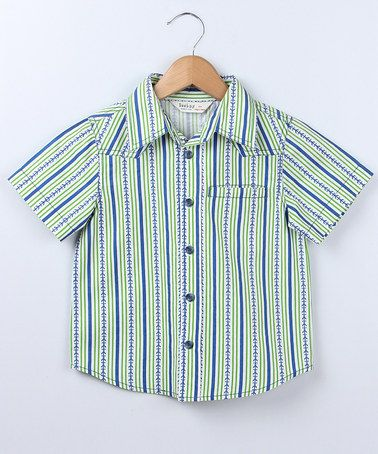 Take a look at this Green Stripe Anchor Button-Up - Boys by Bee-Young on #zulily today!