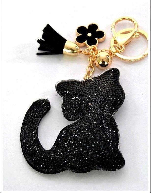 Gros bijoux de sac chat noir grande qualite tissu et strass couture pinterest for Bureaux adolescente noir et strass