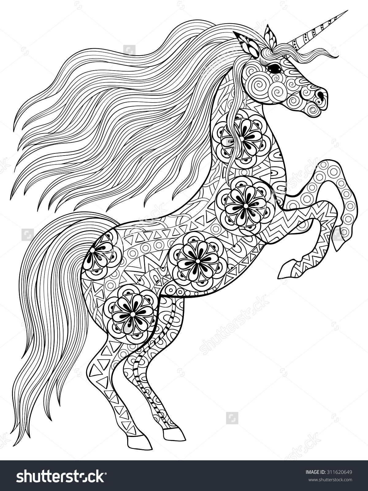 Unicorn Adult Coloring Page Coloring Pages Adult Coloring