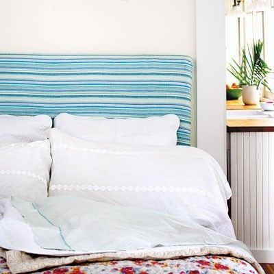 Create a beach chic style to your fabric headboard by re-fabricating it!