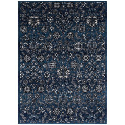 Darby Home Co Audric Floral Style Thunder Blue Area Rug In