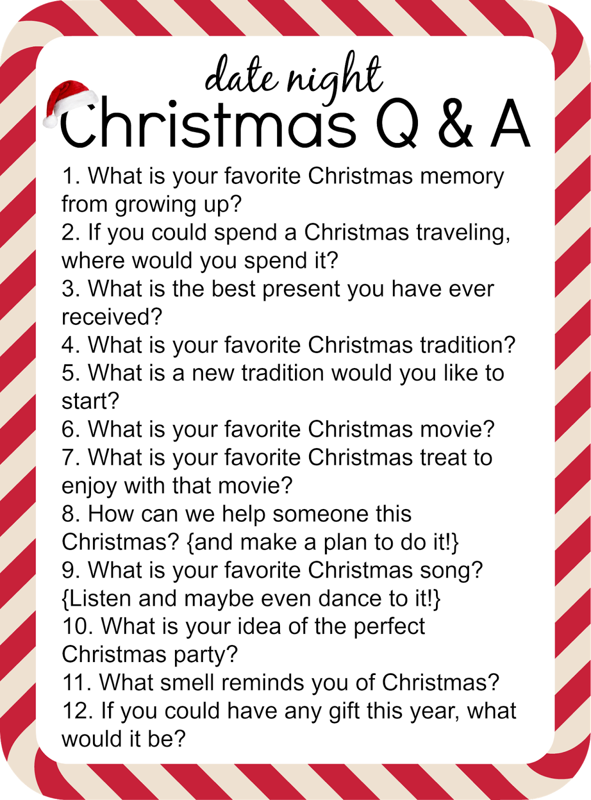 Christmas Questions To Ask.At Home Date Night With Fun Questions To