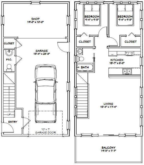 20x40 House 20x40h6b 1 053 Sq Ft Excellent Floor Plans 20x40 House Plans Building A Container Home Floor Plans