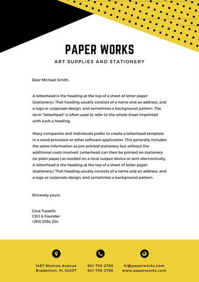Yellow Black Dots Official Letterhead Stellar Canva Templates