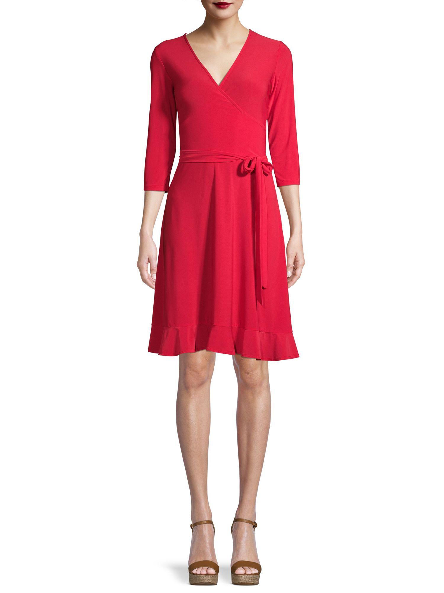 Attitude Unknown Women S Wrap Front Dress Walmart Com Wrap Front Dress Red Flare Dress Dresses [ 2000 x 1500 Pixel ]