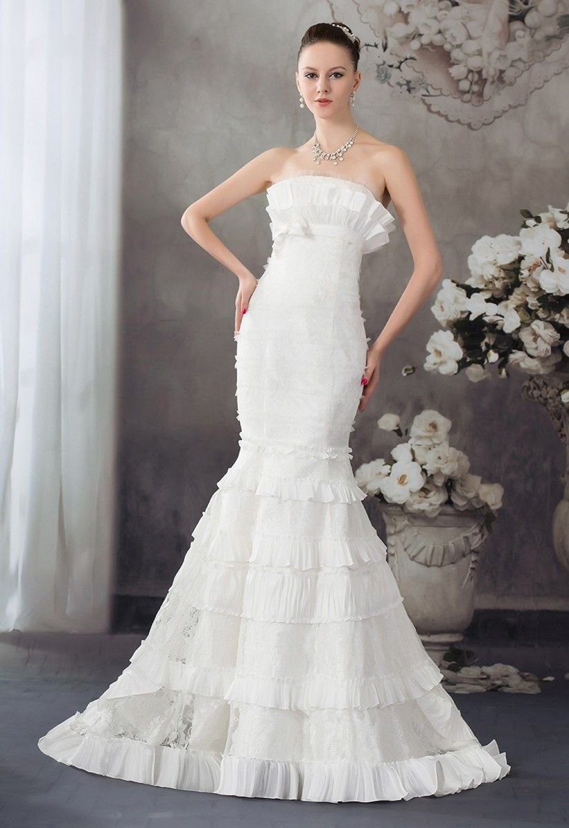 Princess Mermaid Strapless Tiered Taffeta Lace Wedding Dress Bridal Gown Wedding Dresses Lace Bridal Dresses Bridal Gowns [ 1200 x 825 Pixel ]